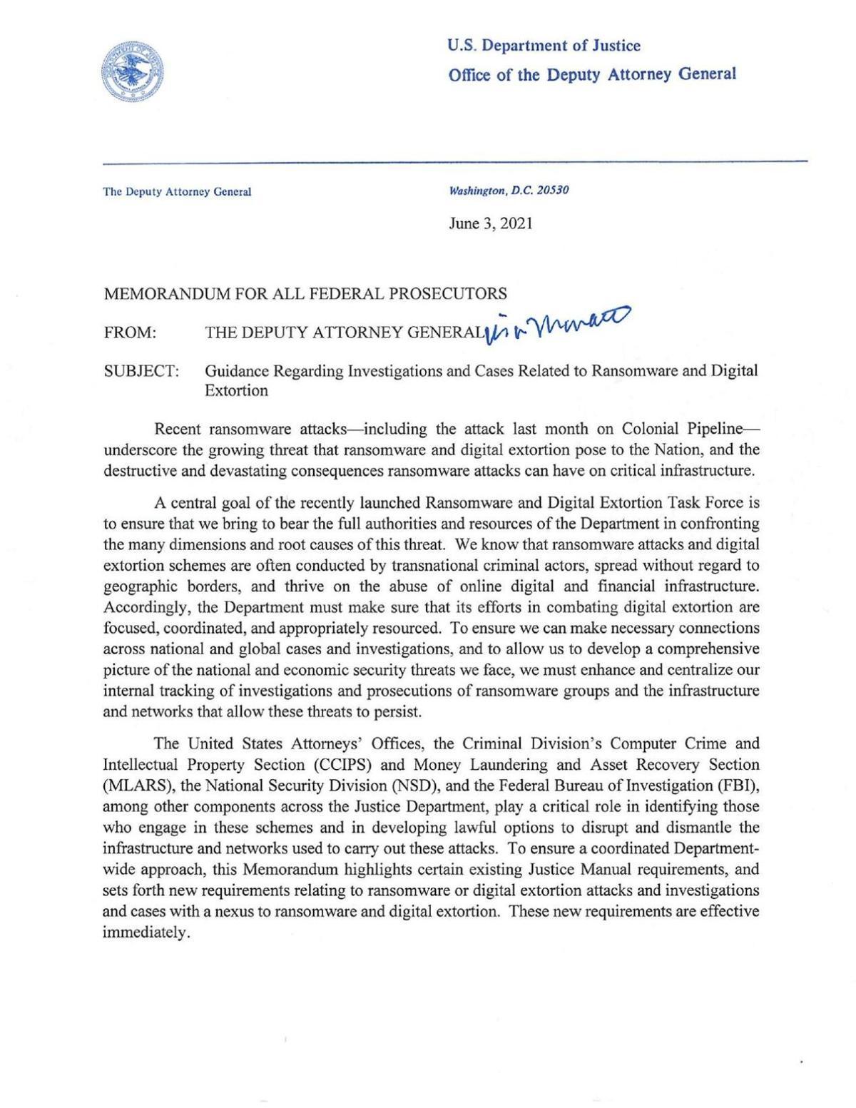 Memorandum Ransomware and Digital Extortion