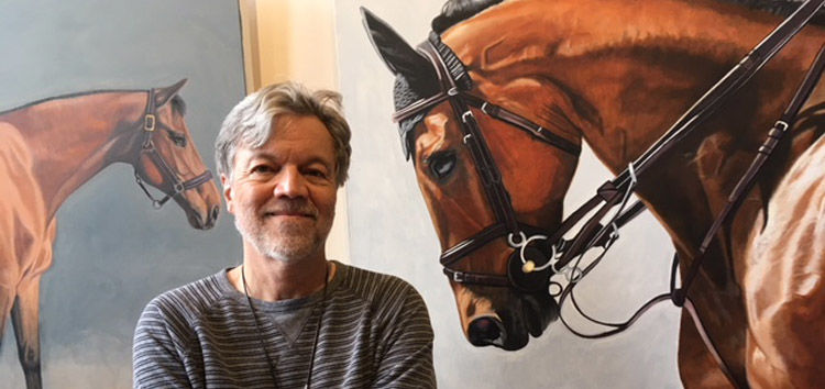 VISIONS-MAIN-Jan Lukens with 2 of his horse paintings Photo credit Terry Rader