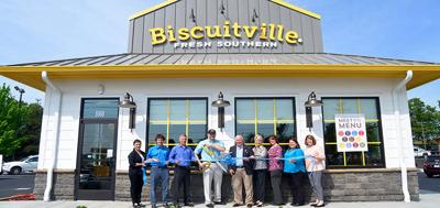 Biscuitville ribbon cuttiing – courtesy Biscuitville