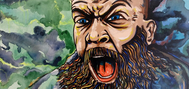VISIONS-MAIN-Unbound Beserker by artist, Eric Marks (Guy screaming)