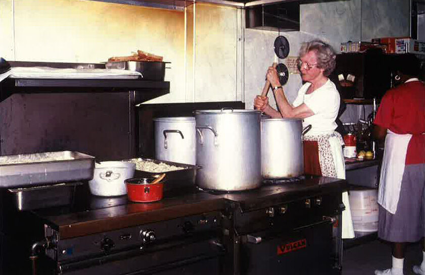 Historic photo of Ginny Gunn, a volunteer in Samaritan Ministries' kitchen.jpg