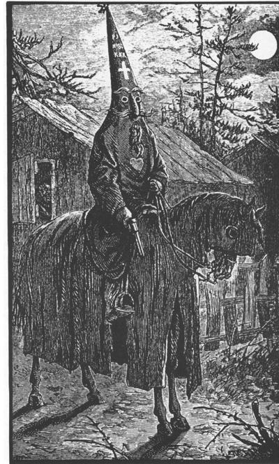 Illustration of 1870s NC Klansman from Albion Tourgee's 1878 novel A Fool's Errand by One of the Fools, based on th author's experiencses in Greensboro.jpg