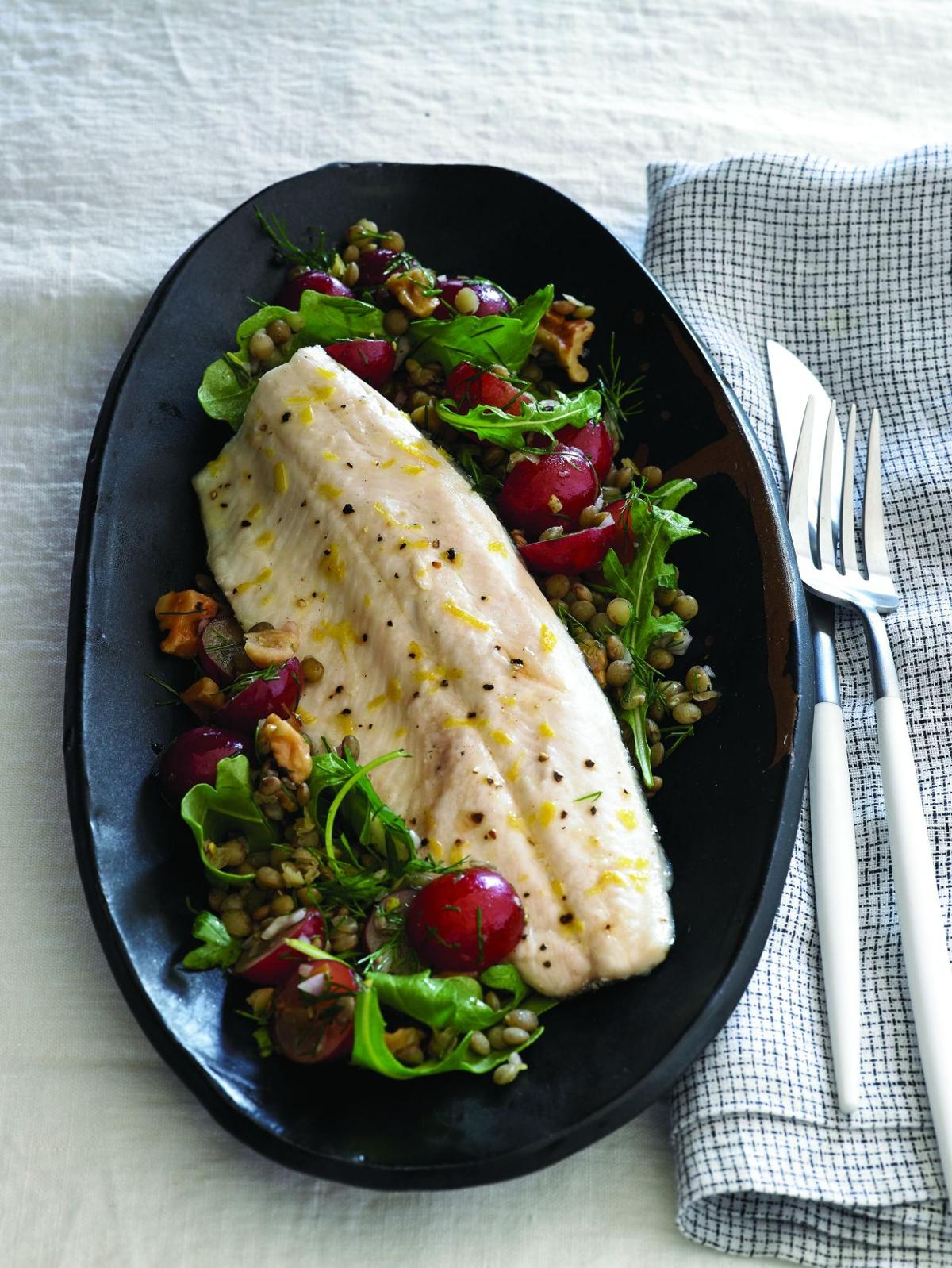 Trout with Grape and Lentil Salad