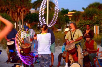 Sun sets on Venice Drum Circle