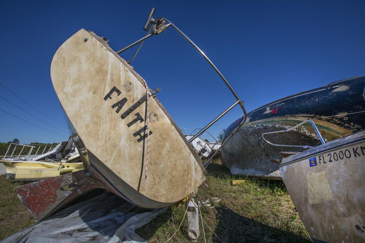 Boats damaged by Hurricane Irma