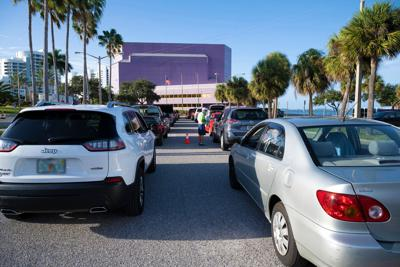 Food distribution at Van Wezel in Sarasota
