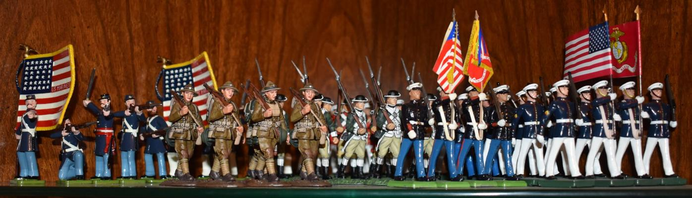 Marine soldier figures from the Revolutionary War to the present