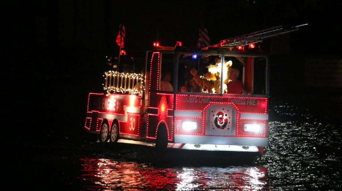 Safety first fire engine joins boat parade