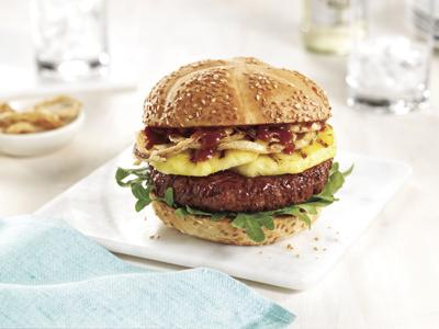 Plant-based burger with grilled pineaplle