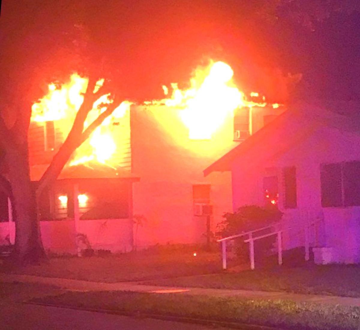 A home ablaze on arrival