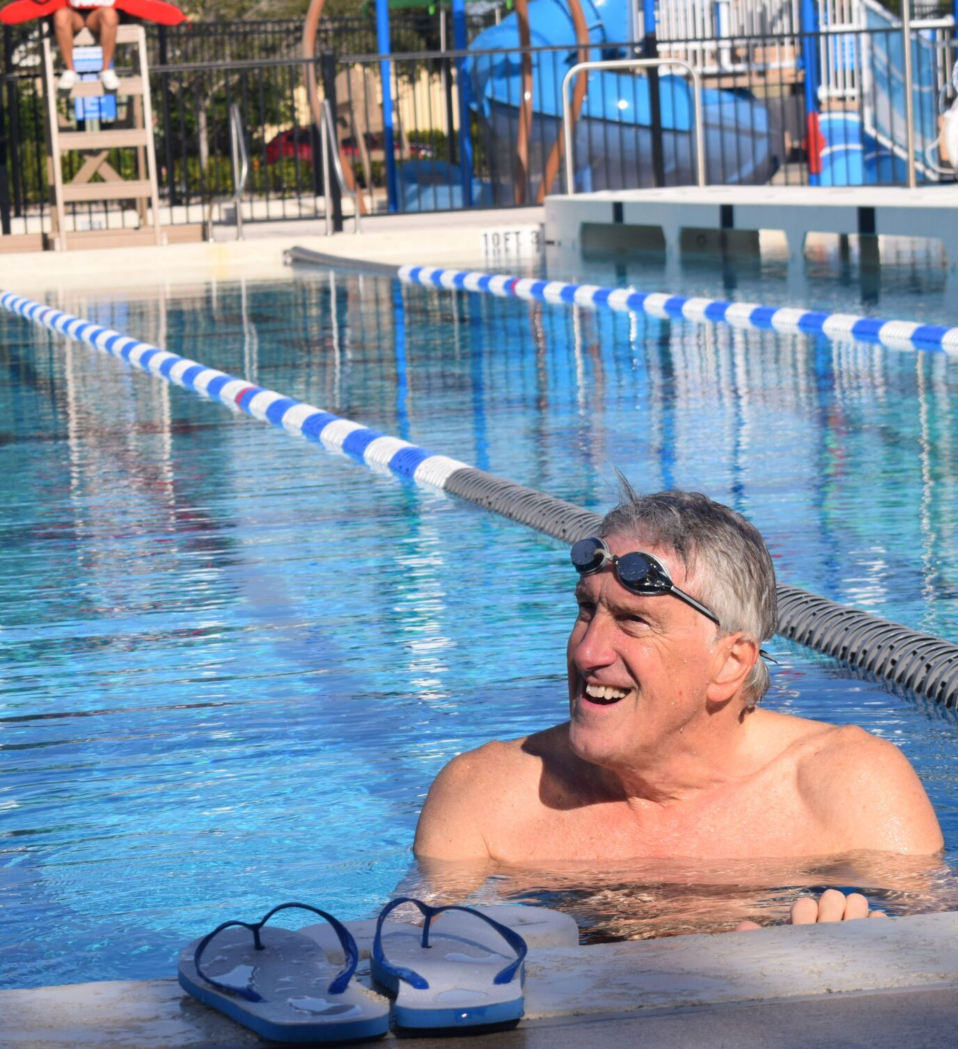Going swimmingly: Olympics icon at the North Port Aquatic Center, 'bloody brilliant'