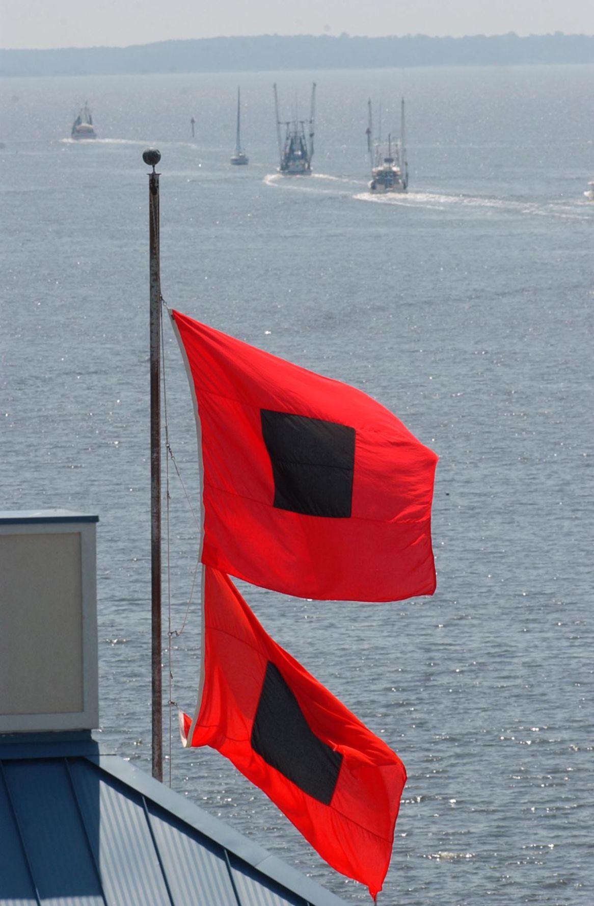 Hurricane warning flags