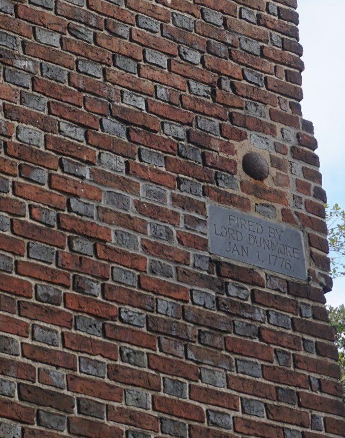 Cannonball in church wall