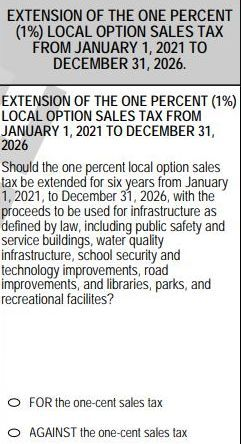 Sales tax question on 2020 ballot