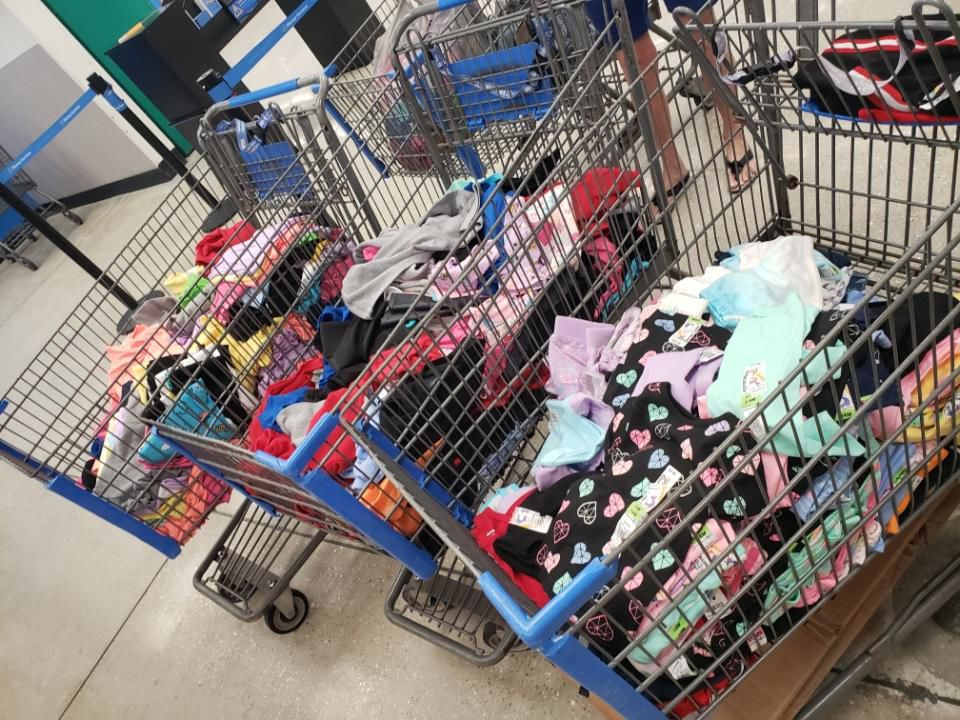 Cart full of clothes