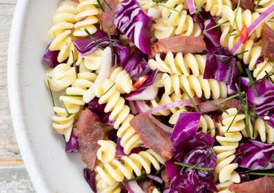 Thai Pork Jerky Pasta Salad