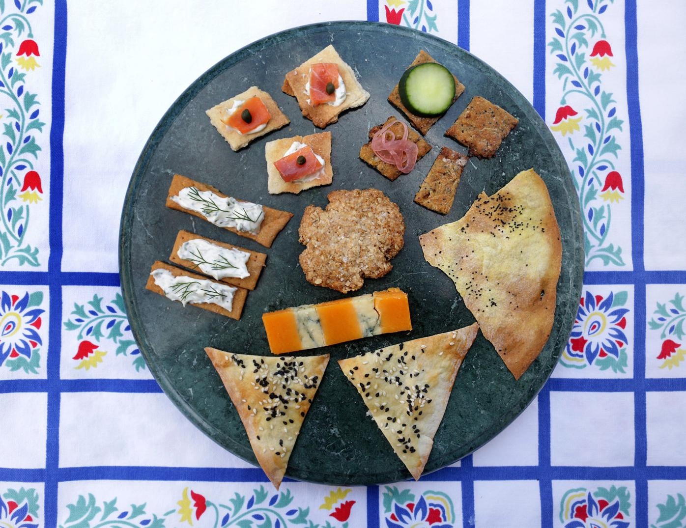 Homemade crackers and toppings