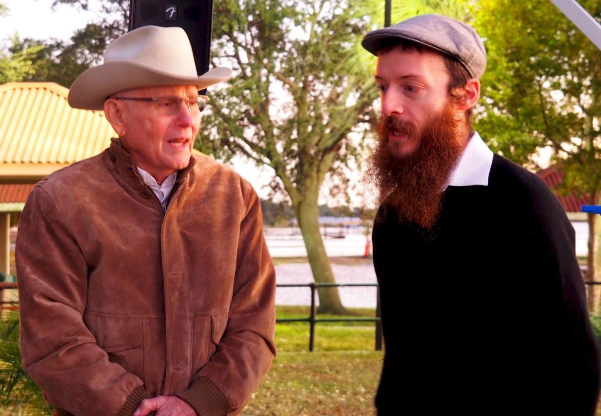 Chanukah blessing Marvin Kahn and Rabbi Lazaros