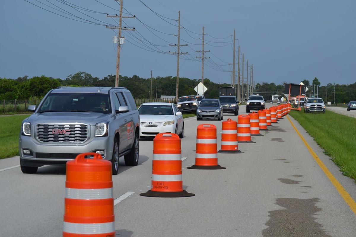Vehicles line up for detour