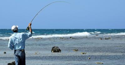 fly fishing beach