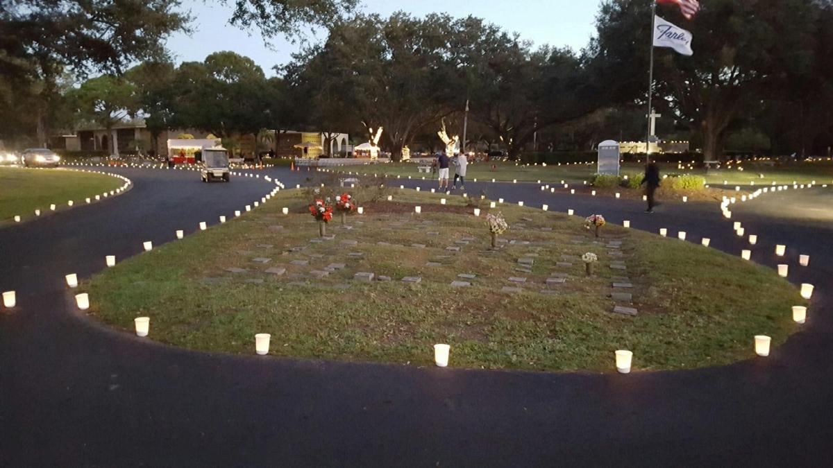 Lighted luminaries guide visitors through the cemetery from 6 p.m. to 7 p.m.