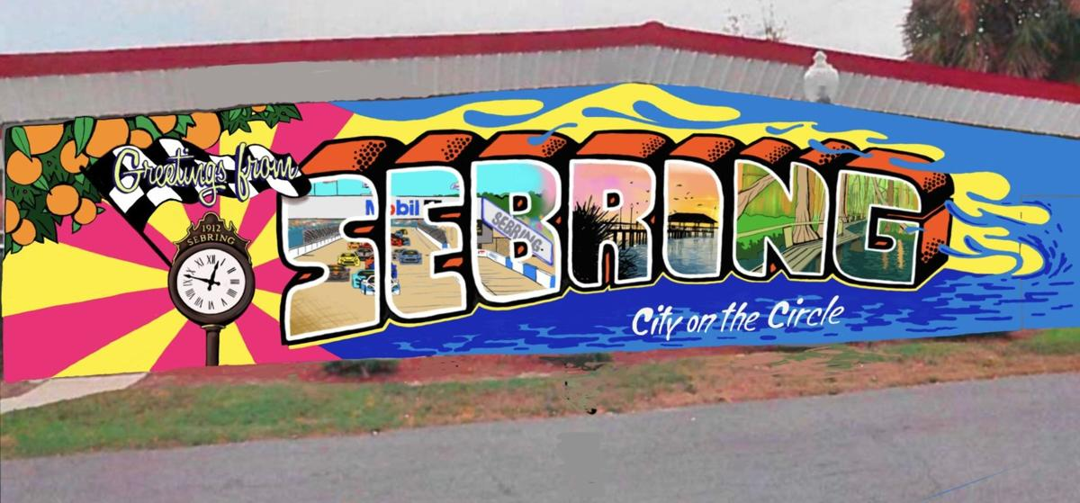 New Sebring mural with lamppost clock