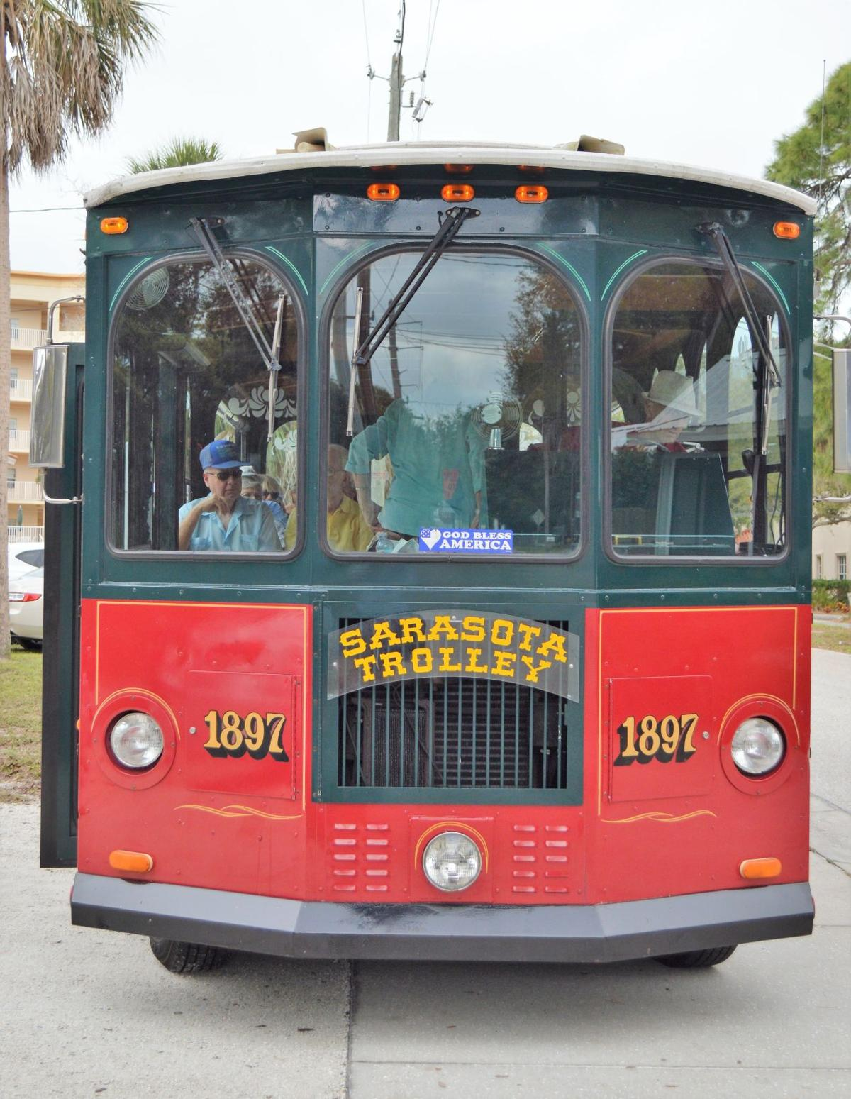 Learning about Sarasota's history in an open air trolley