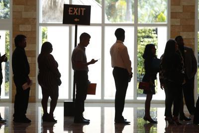 Job applicants in line