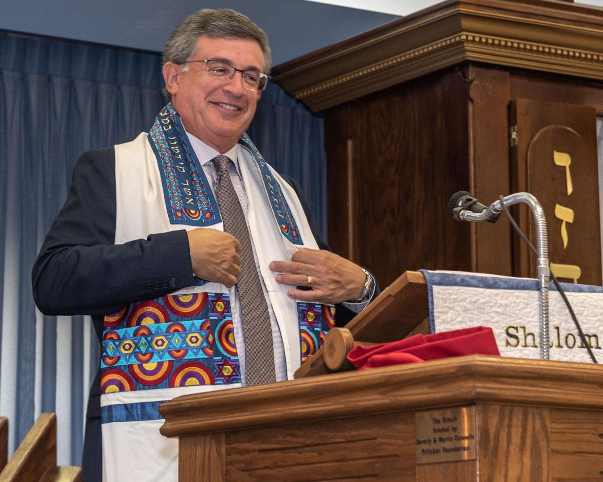 Rabbi Shull dons his newest tallit (prayer shall)