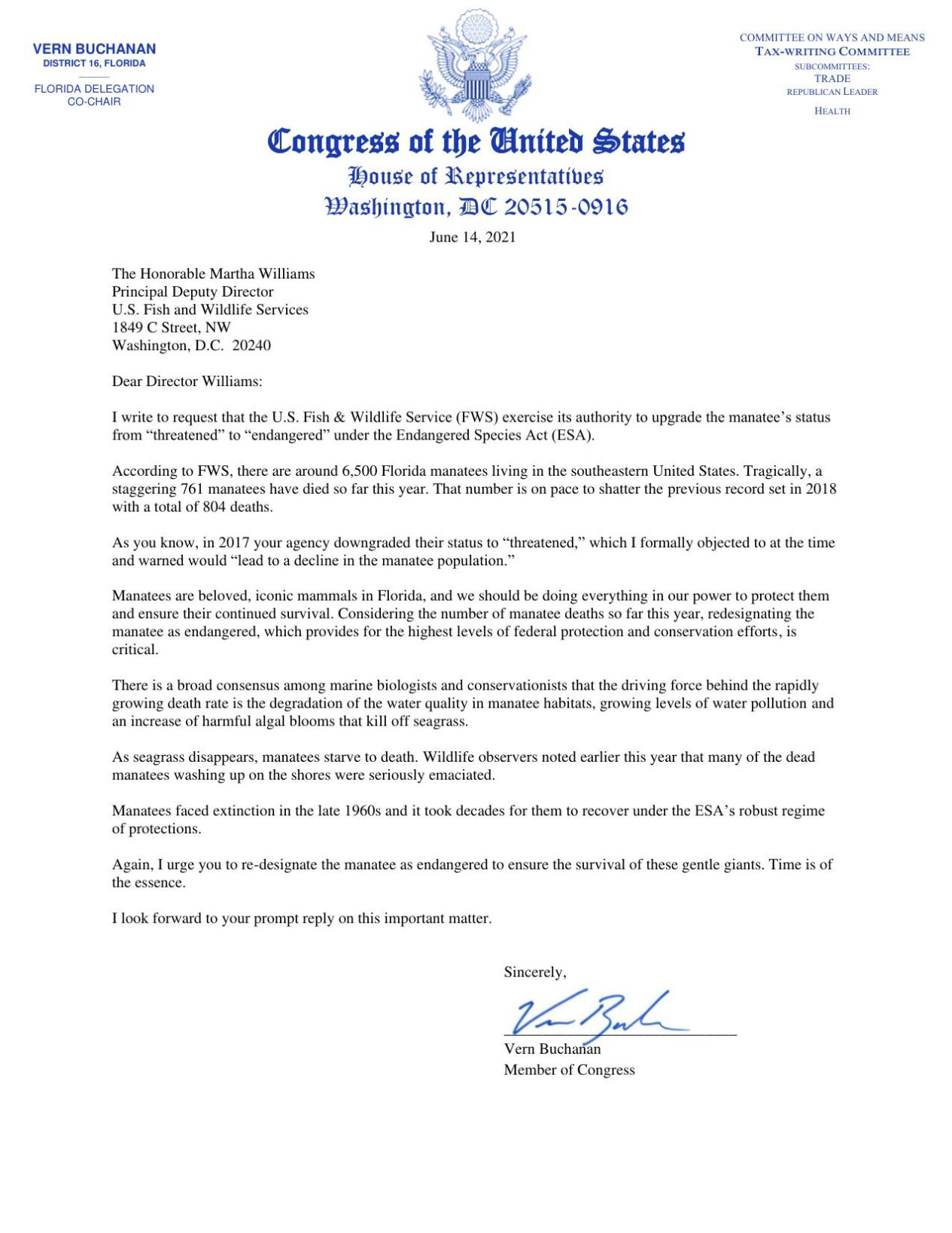 Buchanan letter to USFSW on manatees