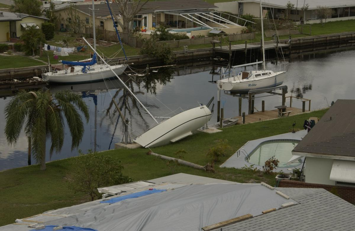 Boats damaged by Hurricane Charley