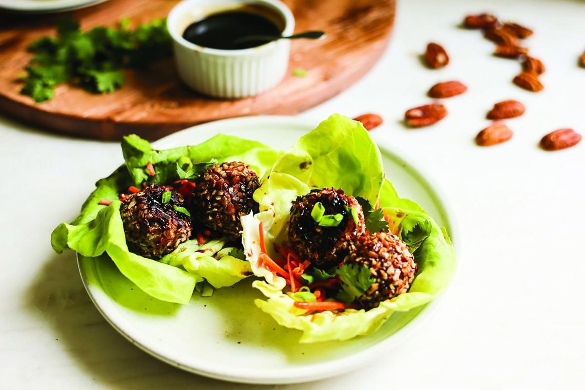 Pecan-Crusted Asian Turkey Meatball Lettuce Wraps