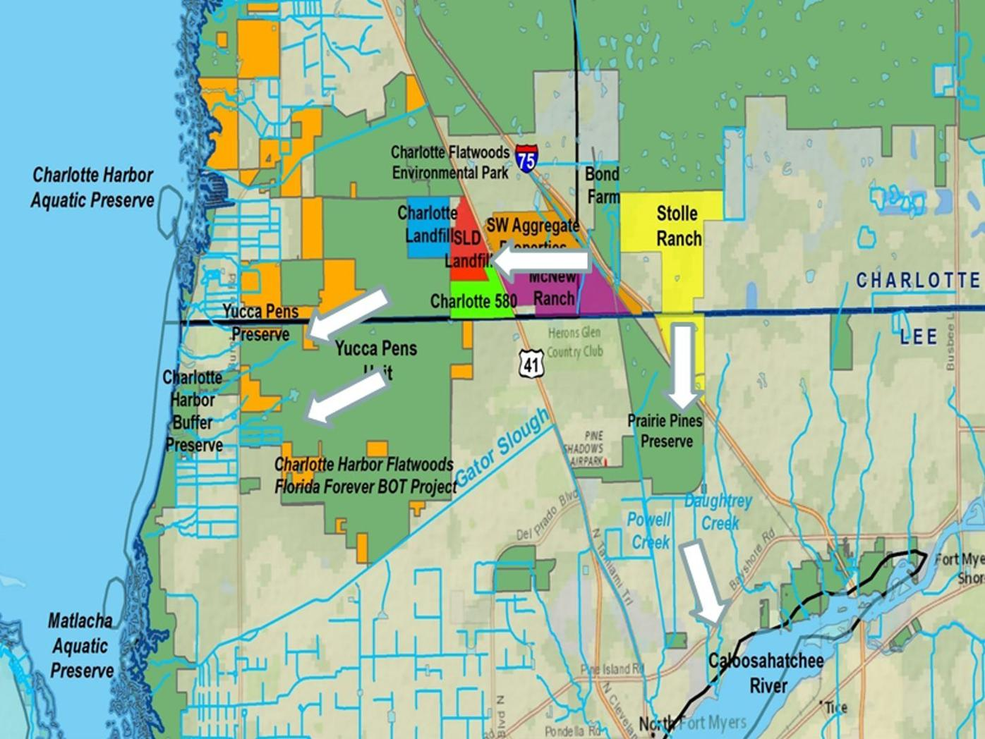 Charlotte Harbor Flatwoods Initiative private and public land map