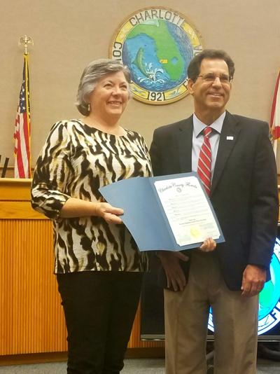 Charlotte County Board of Commissioners proclamation naming North Port artist as Charlotte County Arts and Humanities Council Artist of the Month