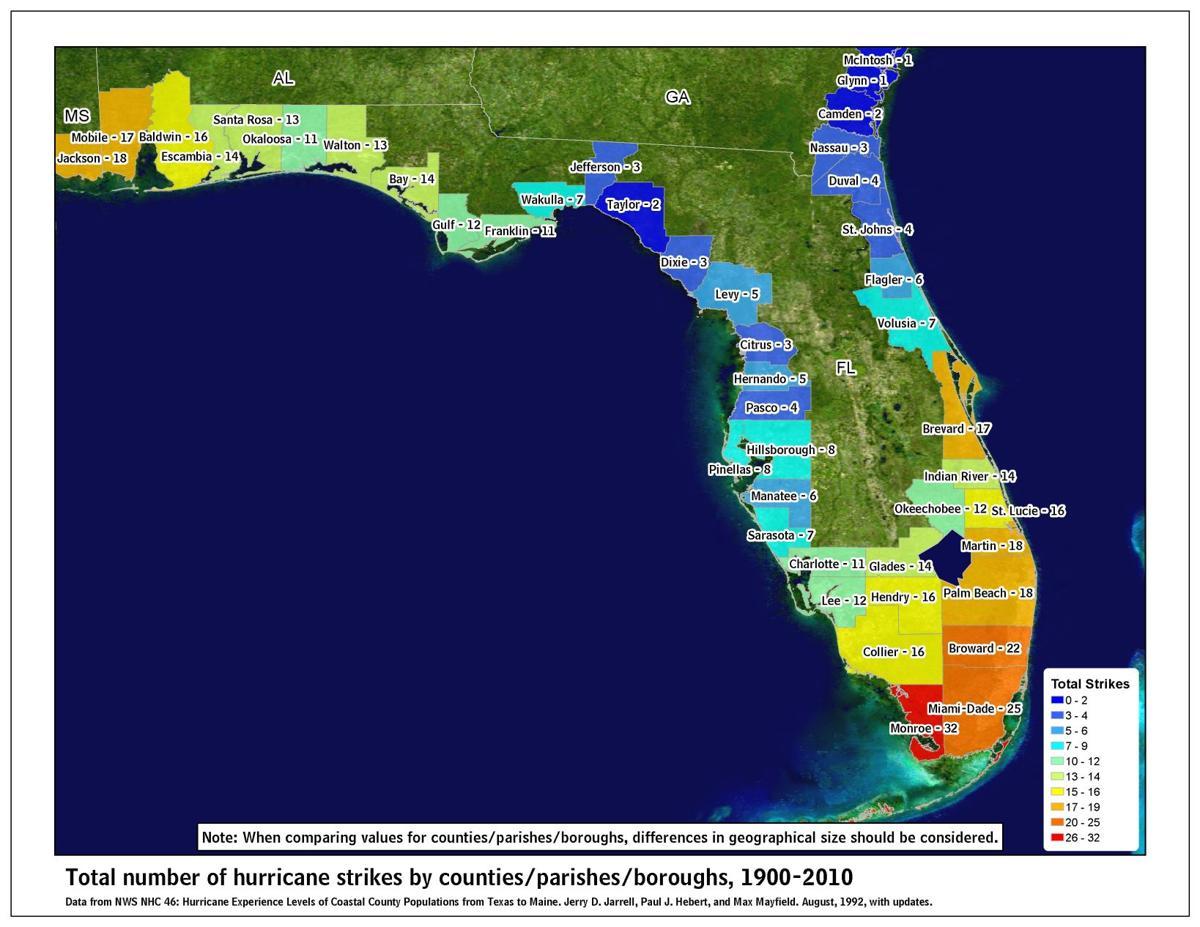 Hurricane hits by Florida county