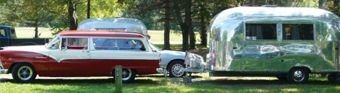 Tin Can Tourists visit in November, vintage RVs displayed