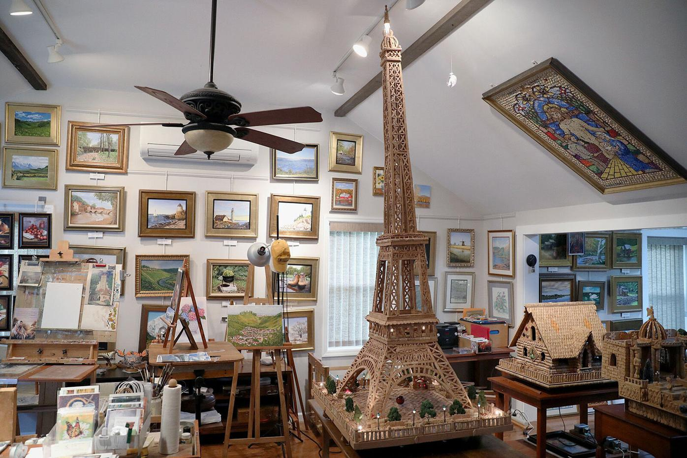 92-year-old artist uses 2,000 wine corks to recreate the Eiffel Tower — while battling leukemia