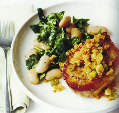 Pork Chops with Butter Bean Salad