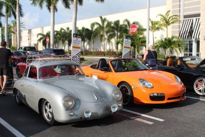 Three cars on display at the show
