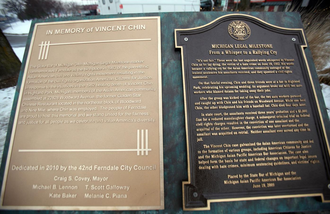 Two plaques dedicated to Vincent Chin