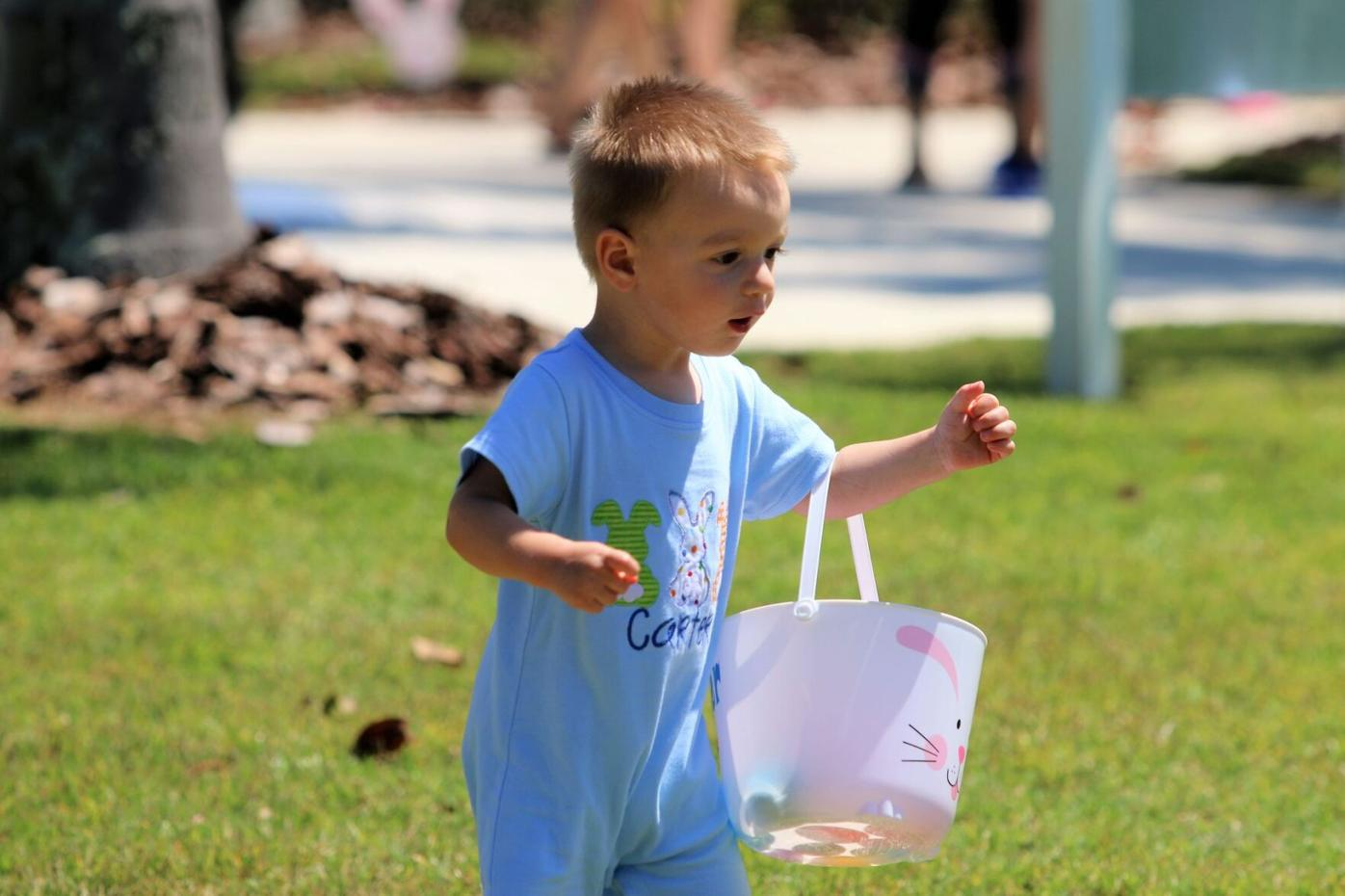 Kids go to the 'Egg-Stream' at Grand Palm