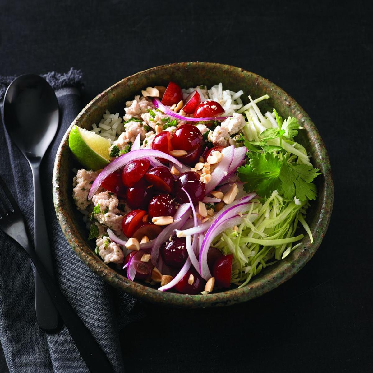 Chicken Larb with Grapes