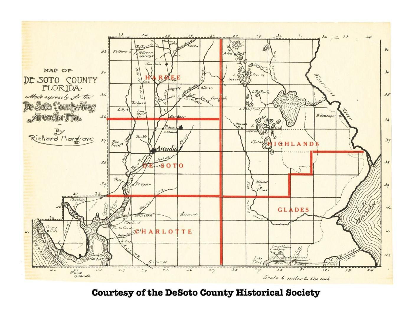 1921 DeSoto County Division Map