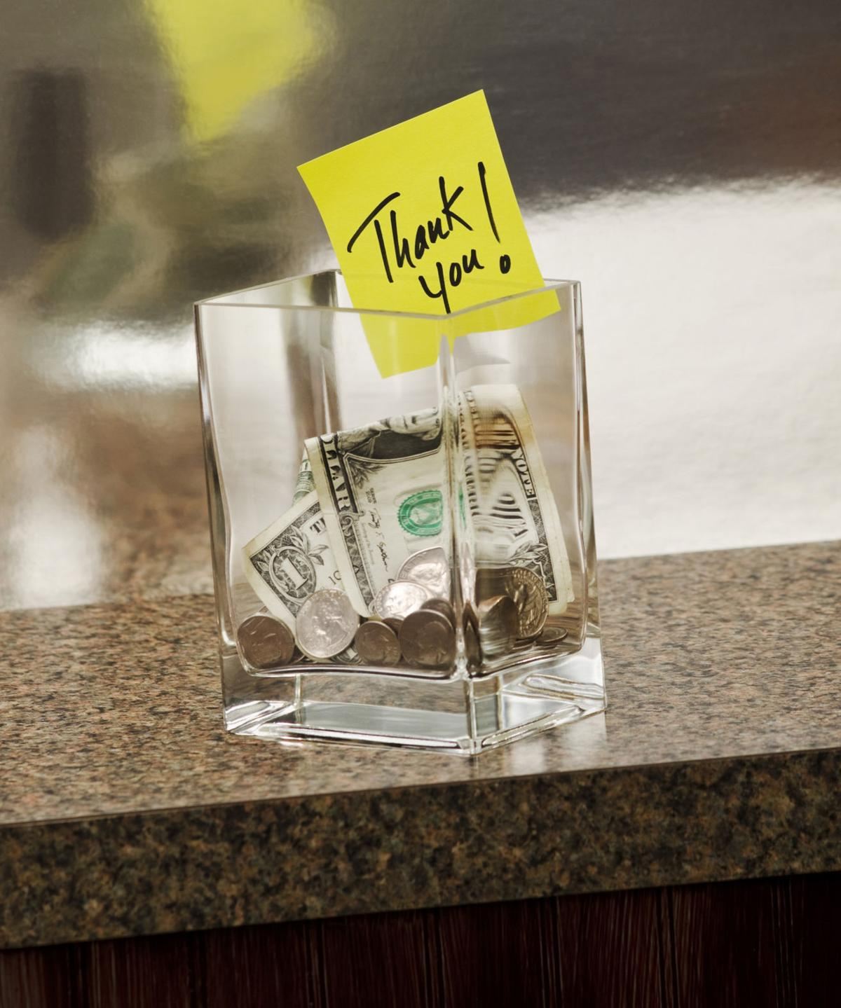Thank you note in tip jar