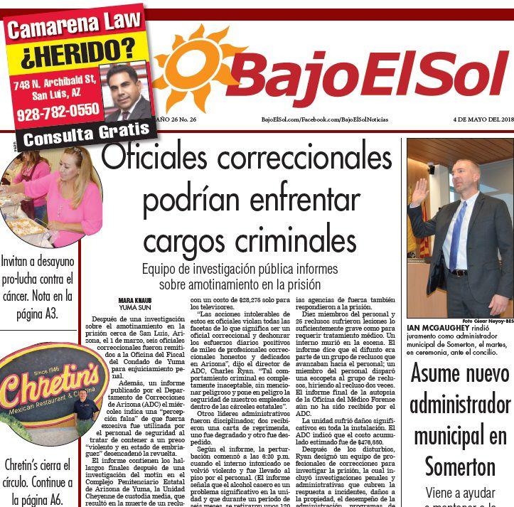 Bajo El Sol Front page