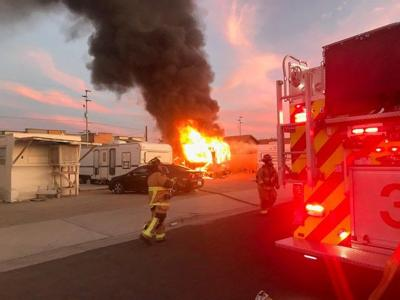 Travel-trailer fire