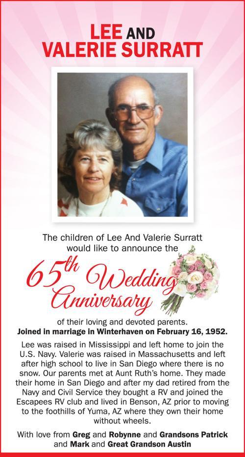 Celebration Lee And Valerie Surratt 65th Wedding Anniversary