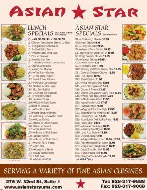Asian Star Menu Yumasun Com