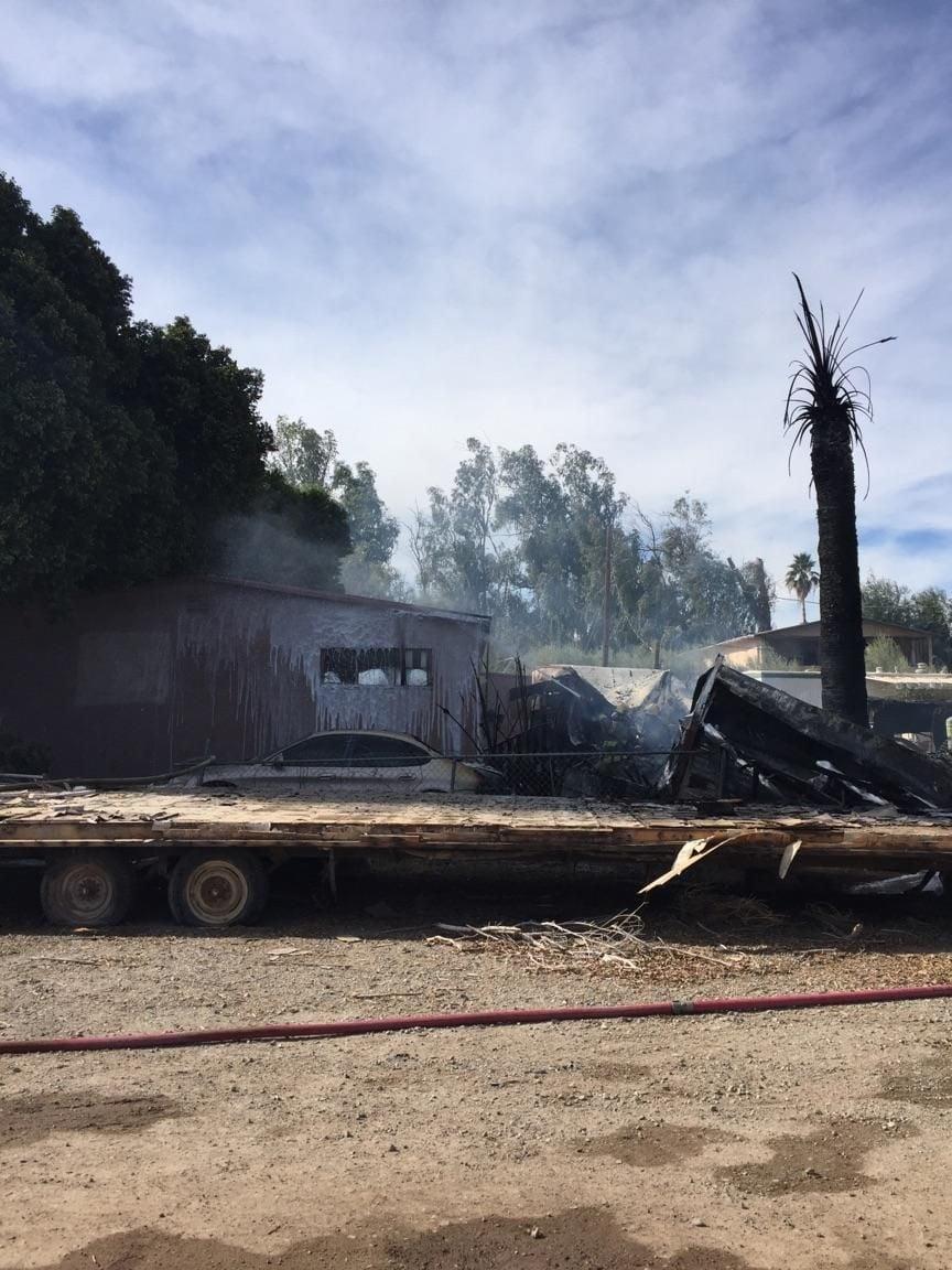 Fire destroys structures
