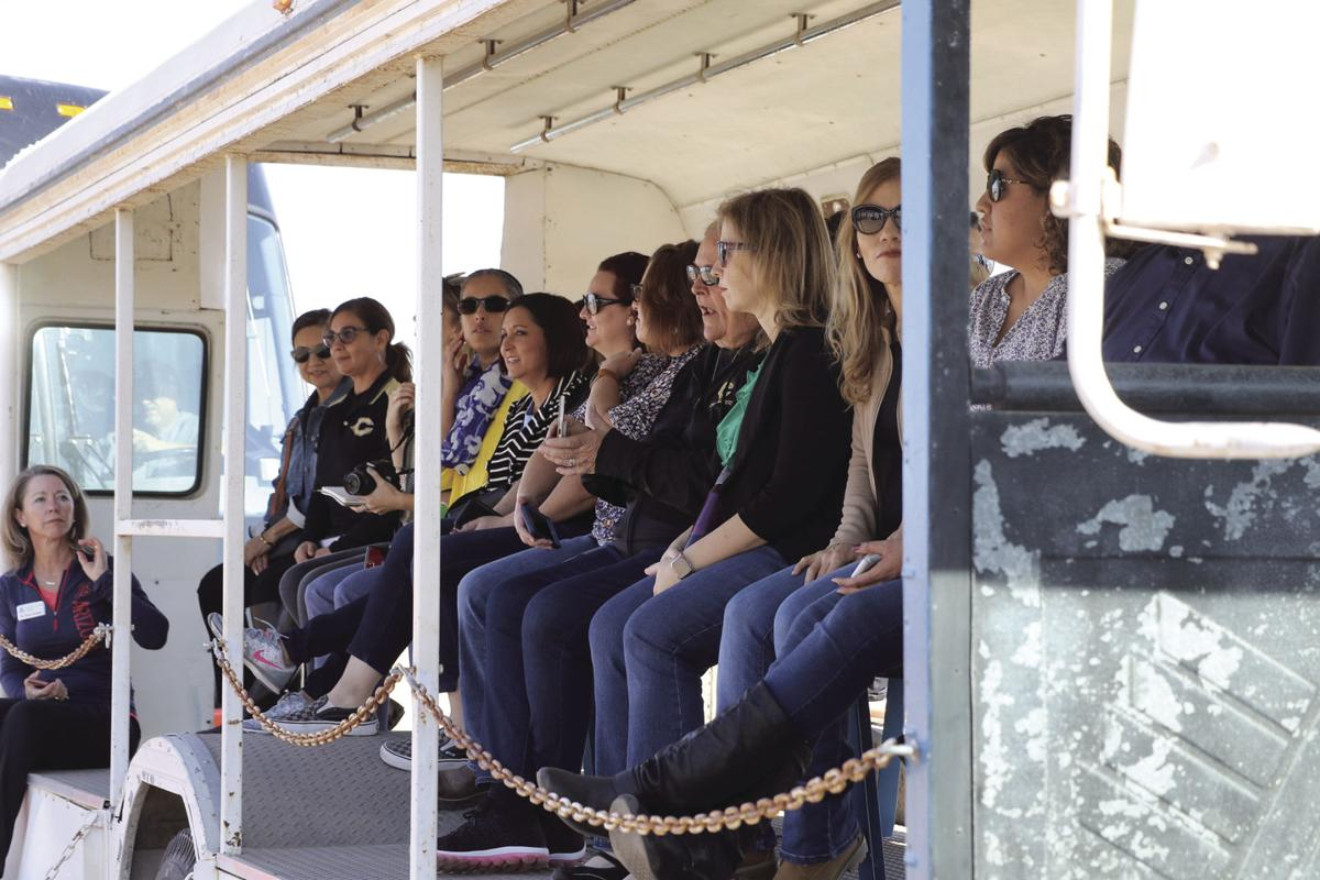 YUHSD staff ride a tour bus to view local agriculture